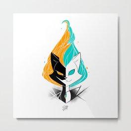 Nightmare/ScribbleNetty (Orange/Turquoise) Metal Print