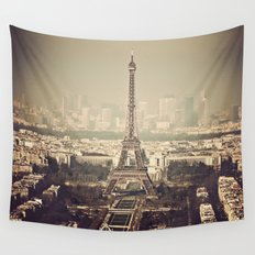 paris skyline aerial view with eiffel tower Wall Tapestry