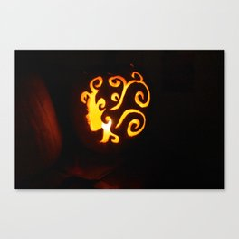 Pretty Lady Carved Pumpkin Canvas Print