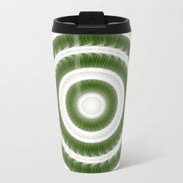 Green White Kaleidoscope Art 8 Travel Mug