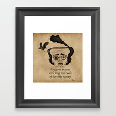 Poe insane Framed Art Print