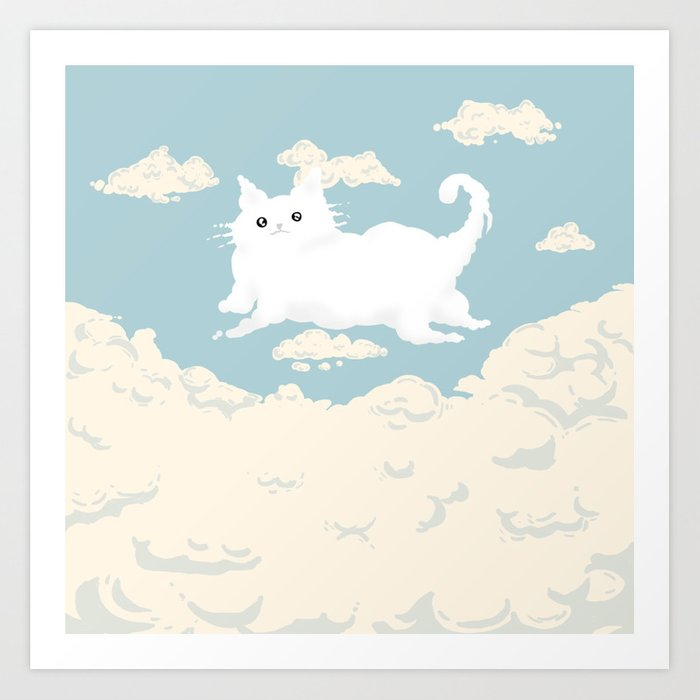 Cat Cloud Art Print