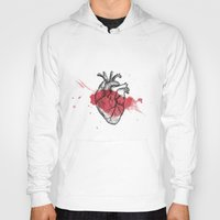anatomical heart Hoodies featuring Anatomical heart - Art is Heart  by AdaLovesTheRain
