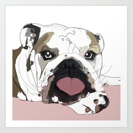 English Bulldog Love Art Print