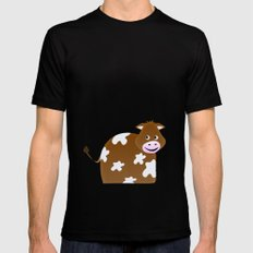 Little Cow Black SMALL Mens Fitted Tee