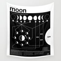 astronomy Wall Tapestries featuring Phases of the Moon infographic by Nick Wiinikka