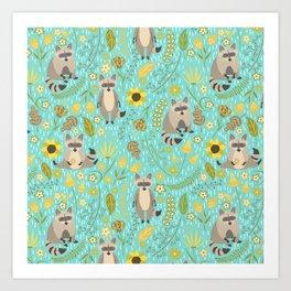 Cute raccoons Art Print