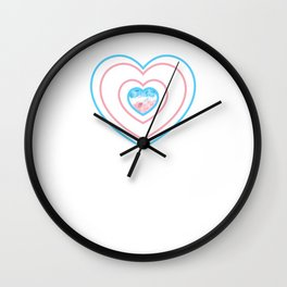 Gay Pride LGBT Transgender Love Heart Stripes design Wall Clock