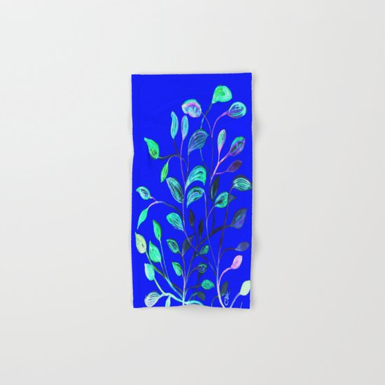 Blue Night's Red and Green Leaves! Hand & Bath Towel