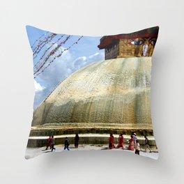 Circumambulating the Stupa Boudha Throw Pillow