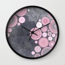 FESTIVAL FLOW - PINK GREY Wall Clock