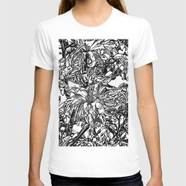 Inky Black and White Floral 2 T-shirt