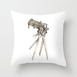 Scissorhands (Sepia-R) Throw Pillow