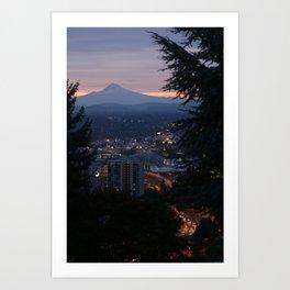 Mount Hood over Portland Art Print