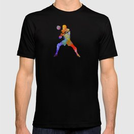 Volley ball player man 02 in watercolor T-shirt
