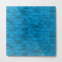 Blue Stone Blocks Wall Texture Metal Print