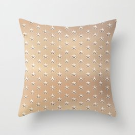 Shiny Silver Star Christmas Pattern on Gold Throw Pillow
