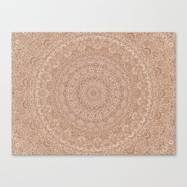 The Most Detailed Intricate Mandala (Brown Tan) Maze Zentangle Hand Drawn Popular Trending Canvas Print