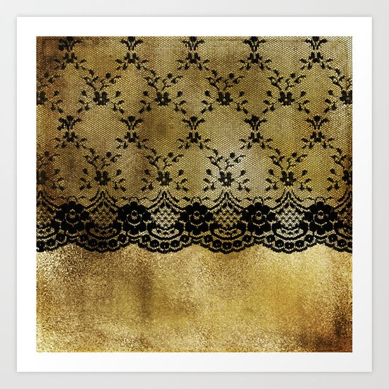Black floral elegant lace on gold metal background- #Society6 Art Print