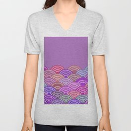 seigaiha wave lilac purple pink colors abstract scales Unisex V-Neck
