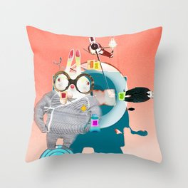 Time to watch with rabbits Throw Pillow