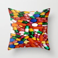 pills Throw Pillows featuring PILLS,PILLS,PILLS by Asano Kitamura