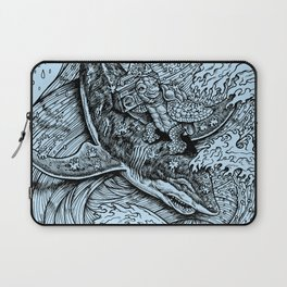 i only surf on SHARKS! Laptop Sleeve