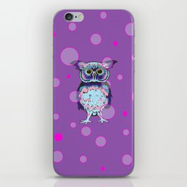 Owl Purple Bubbles iPhone Skin