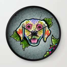 Golden Retriever - Day of the Dead Sugar Skull Dog Wall Clock