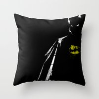 bat Throw Pillows featuring bat by Molnár Roland