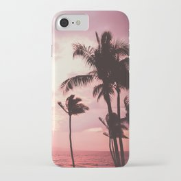 Tropical Palm Tree Pink Sunset iPhone Case