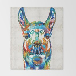 Colorful Llama Art - The Prince - By Sharon Cummings Throw Blanket