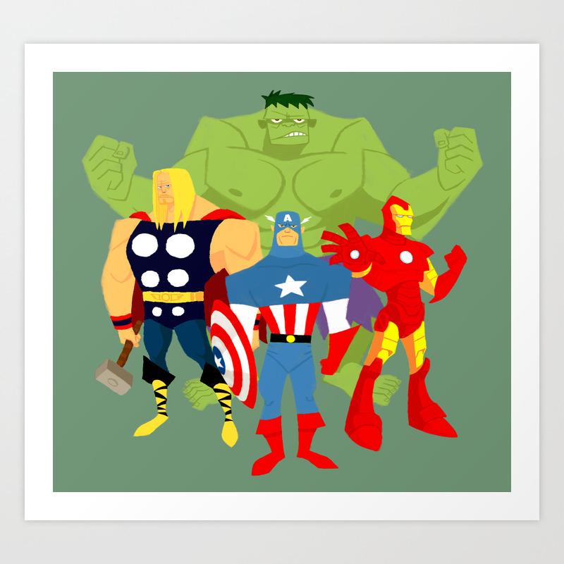 Avengers Cartoon Ed Art Print By Deadpan76 Society6