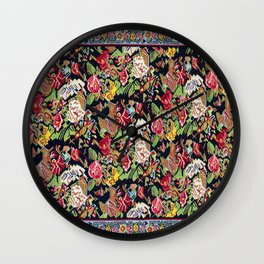 Sehna Kilim Poshti  Antique Kurdistan Persian Tribal Rug Print Wall Clock