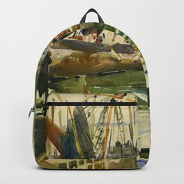 Ships in Harbor coastal nautical landscape painting by Hayley Lever Backpack