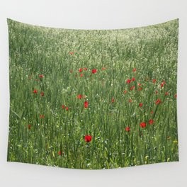 Poppy Field And Springtime Hay Meadow  Wall Tapestry