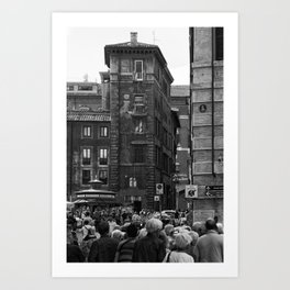 Busy lively street in Rome, Italy   Black & White   Street   Travel Photography   Photo Print   Art Print Art Print