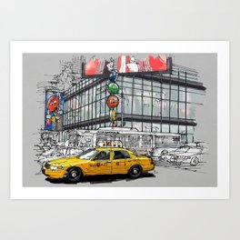 A corner in New York city and a yellow cab Art Print