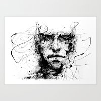 ink Art Prints featuring lines hold the memories by agnes-cecile