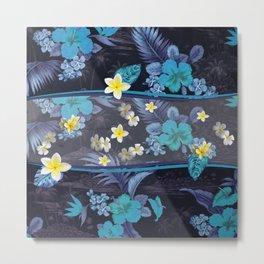Blue Hawaiian Hibiscus and Plumeria Metal Print