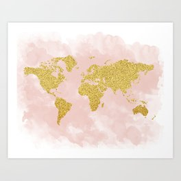 Gold Glitter Map, Nursery Art, Pink Gold, Pastels Art Print