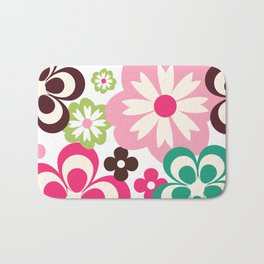 Big And Small Abstract Colorful Flowers Pattern Bath Mat