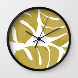 Monstera Leaves White Background  Wall Clock