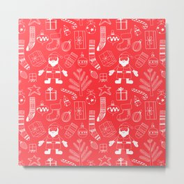 Doodle Christmas pattern red Metal Print