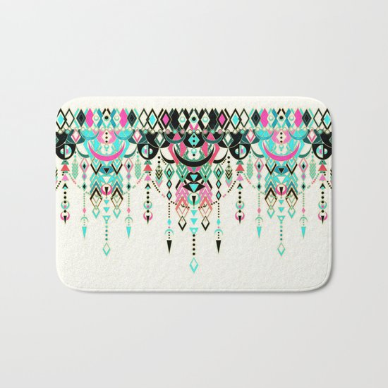 Modern Deco in Pink and Turquoise Bath Mat