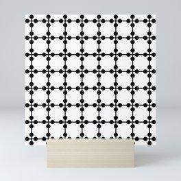 Droplets Pattern - White & Black Mini Art Print