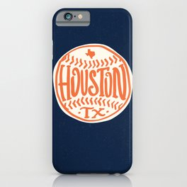 Hand Drawn Baseball for Houston Texas with custom Lettering iPhone Case