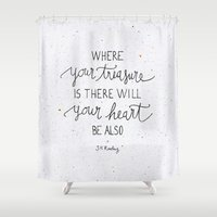 dumbledore Shower Curtains featuring Where your treasure is, there will your heart be also by Earthlightened