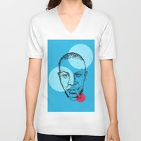 allyson johnson V-neck T-shirts featuring Robert Johnson by mr.defeo