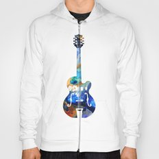 Vintage Guitar - Colorful Abstract Musical Instrument Hoody